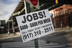 Le tableau d'ensemble brossé par les statistiques américaines de l'emploi semble plutôt encourageant pour les perspectives de la première économie mondiale. /Photo d'archives/REUTERS/Shannon Stapleton