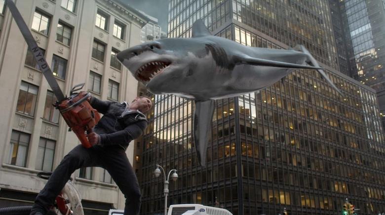 Ian Ziering fends off a flying shark in Sharknado 2. REUTERS/Syfy/NBCUniversal/Handout