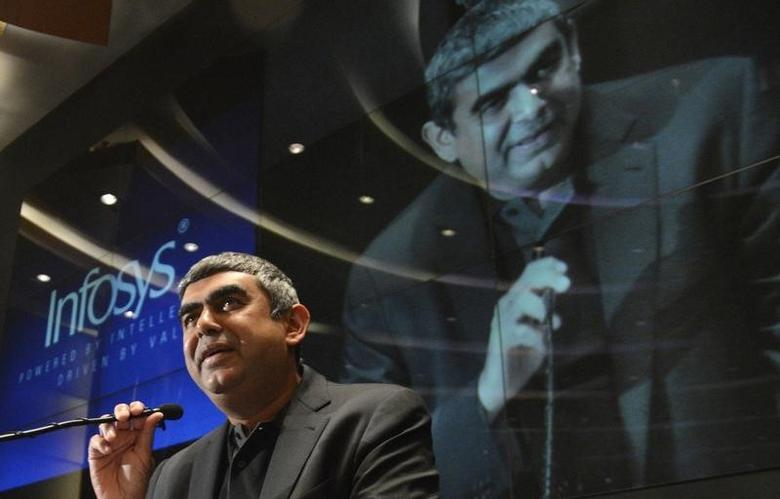 Newly appointed Infosys Chief Executive Officer Vishal Sikka speaks during a news conference at the company's headquarters in Bangalore June 12, 2014. REUTERS/Stringer/Files