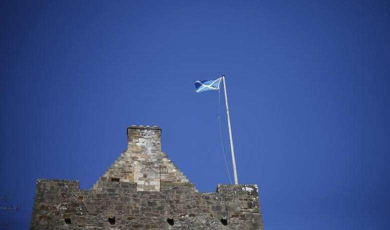 Scotland's flag, the Saltire, flies on top of Dean Castle in Kilmarnock, Scotland March 27, 2014.  REUTERS/Suzanne Plunkett