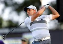 Aug 1, 2014; Akron, OH, USA; Sergio Garcia tees off on the 18th hole during the second round of the WGC-Bridgestone Invitational golf tournament at Firestone Country Club - South Course. Mandatory Credit: Joe Maiorana-USA TODAY Sports