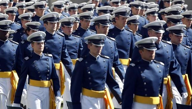 The graduating class of second lieutenants arrive at the Air Force Academy's Class of 2012 graduation ceremony in Colorado Springs, Colorado May 23, 2012. REUTERS/Rick Wilking