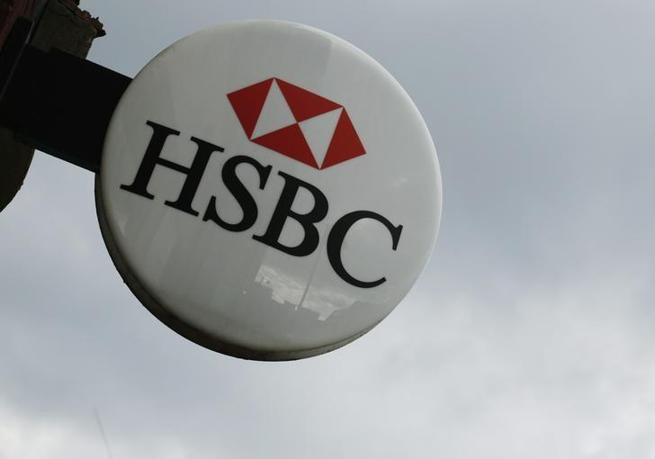 The signage of the HSBC bank is seen at a branch at Hayes in west London February 24, 2014. REUTERS/Luke MacGregor