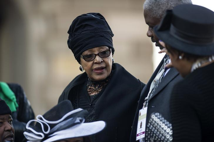 Winnie Madikizela Mandela,ex-wife of former South African president Nelson Mandela, attends the inauguration ceremony of South African President Jacob Zuma at the Union Buildings in Pretoria May 24, 2014. REUTERS/Mujahid Safodien/Pool