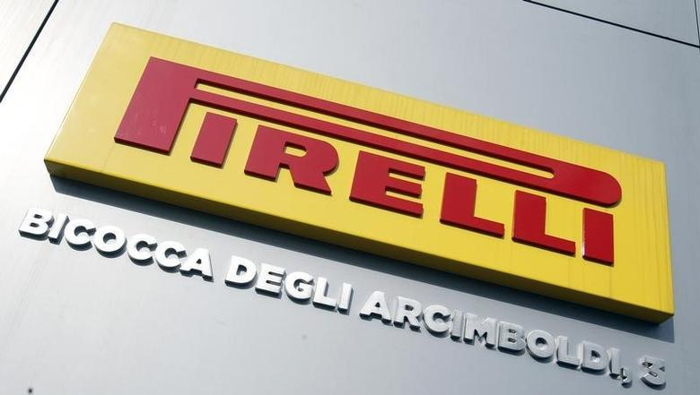 The Pirelli logo is pictured at their headquarters in Milan March 18, 2014.  REUTERS/Alessandro Garofalo