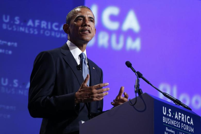 U.S. President Barack Obama talks at the U.S.-Africa Business Forum about strengthening trade and financial ties between the U.S. and Africa in Washington, August 5, 2014.     REUTERS/Larry Downing