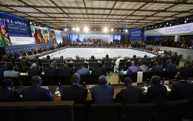 Leaders from nearly 50 African countries listen as U.S. President Barack Obama delivers opening remarks to the U.S.-Africa Leaders Summit Session One on 'Investing in Africa's Future,' at the U.S. State Department in Washington August 6, 2014.    REUTERS/Jim Bourg