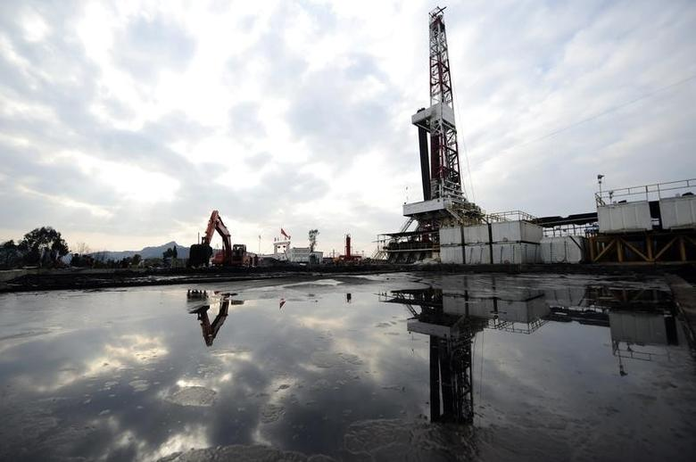 A natural gas appraisal well of Sinopec is seen behind a treatment pond of drilling waste in Langzhong county, Sichuan province March 1, 2011. REUTERS/Stringer
