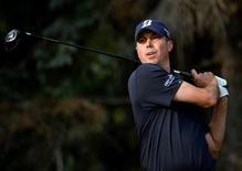 Matt Kuchar tees off the 10th hole during the second round of the RBC Canadian Open at Royal Montreal GC - Blue Course on July 25, 2014. USA TODAY Sports/Eric Bolte