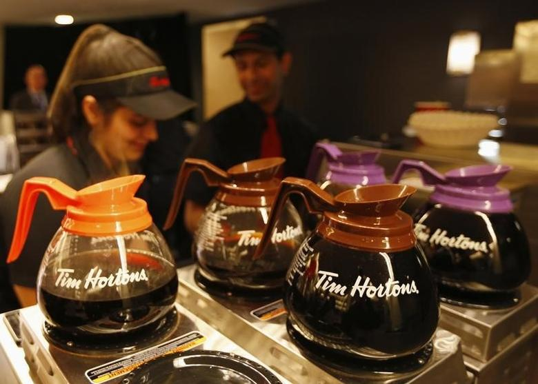Tim Hortons employees prepare coffee before the company's annual general meeting in Toronto, in this file photo taken May 8, 2014. REUTERS/Peter Jones/Files