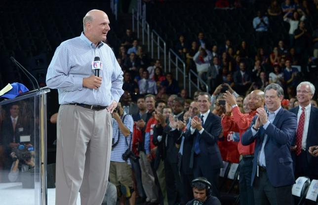 Aug 18, 2014; Los Angeles, CA, USA; Los Angeles Clippers owner Steve Ballmer at fan fest at Staples Center. Mandatory Credit: Kirby Lee-USA TODAY Sports