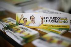 Material de campanha da chapa do PSB à Presidência com Eduardo Campos e Marina Silva, em Brasília. 13/08/2014 REUTERS/Ueslei Marcelino