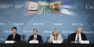 Transportation Safety Board of Canada (TSB) chair Wendy Tadros speaks during a news conference at the Lac-Megantic Golf Club in Lac-Megantic, August 19, 2014.  REUTERS/Mathieu Belanger