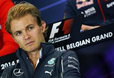 Mercedes Formula One driver Nico Rosberg of Germany attends a news conference ahead of the weekend's Belgian F1 Grand Prix in Spa-Francorchamps August 21, 2014.  REUTERS/Yves Herman