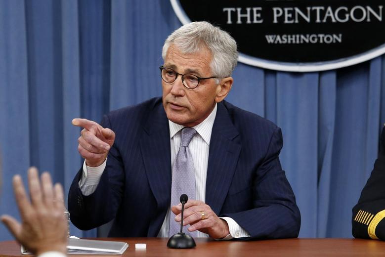 U.S. Secretary of Defense Chuck Hagel speaks during a press briefing at the Pentagon in Washington, August 21, 2014. REUTERS/Yuri Gripas