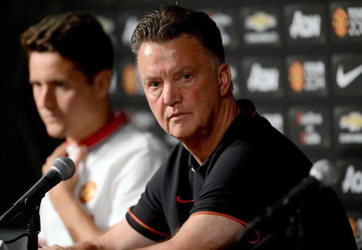 Jul 22, 2014; Pasadena, CA, USA; Manchester United head coach Louis Van Gaal talks to the media during a press conference a day before the game against the Los Angeles Galaxy at the Rose Bowl. Mandatory Credit: Jayne Kamin-Oncea-USA TODAY Sports