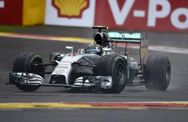 Mercedes Formula One driver Nico Rosberg of Germany drives on the track during the qualification session at the Belgian F1 Grand Prix in Spa-Francorchamps August 23, 2014. REUTERS/Laurent Dubrule