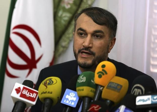 Hossein Amir-Abdollahian, Iran's envoy to the Organisation of Islamic Cooperation (OIC), speaks during a news conference about the new political relations between Iran and Egypt after the newly elected Egyptian President Abdel Fattah al-Sissi was sworn in, at the Iranian embassy in Cairo June 9, 2014. REUTERS/Mohamed Abd El Ghany