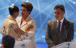 Candidatos à Presidência Marina Silva, Dilma Rousseff e Aécio Neves antes de debate na Band, em São Paulo. 26/08/2014  REUTERS/Paulo Whitaker