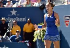 Aug 29, 2014; New York, NY, USA; Sara Errani (ITA) celebrates after defeating Venus Williams (USA) on day five of the 2014 U.S. Open tennis tournament at USTA Billie Jean King National Tennis Center. Mandatory Credit: Robert Deutsch-USA TODAY Sports