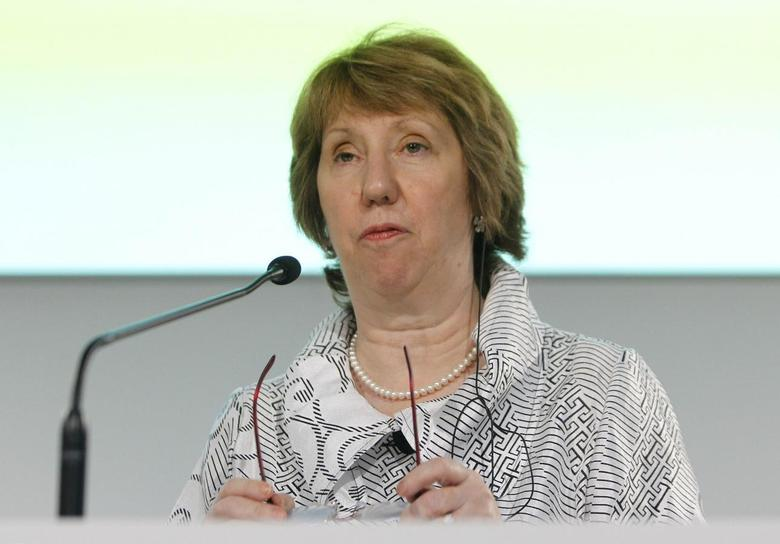 European Union foreign policy chief Catherine Ashton looks on as she peaks during a news conference at the end of an informal meeting of the EU Foreign Affairs Ministers in Milan August 30, 2014.  REUTERS/Alessandro Garofalo