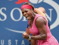 Sept 1, 2014; New York, NY, USA; Serena Williams (USA) reacts after defeating Kaia Kanepi (EST) on day eight of the 2014 U.S. Open tennis tournament at USTA Billie Jean King National Tennis Center. REUTERS/ Robert Deutsch-USA TODAY
