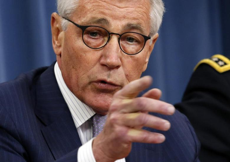 U.S. Secretary of Defense Chuck Hagel speaks during a press briefing at the Pentagon in Washington, August 21, 2014. REUTERS/Yuri Gripas