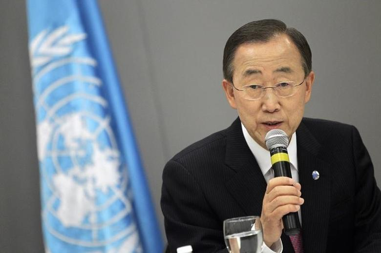 U.N. Secretary-General Ban Ki-moon attends a news conference in Brasilia, June 17, 2011. REUTERS/Ueslei Marcelino/Files