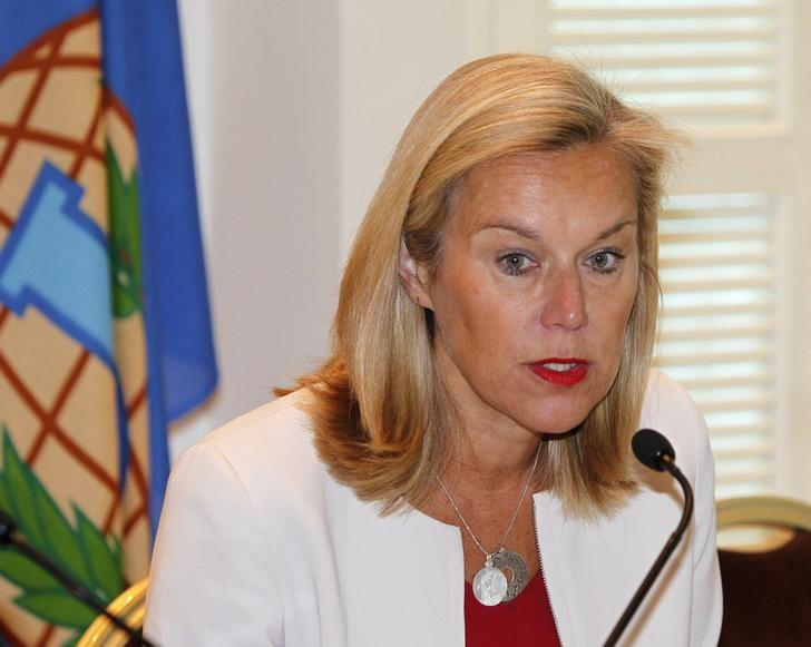Sigrid Kaag, special coordinator of the Organisation for the Prohibition of Chemical Weapons-United Nations (OPCW-UN) joint mission on eliminating Syria's chemical weapons programme, speaks during a news conference in Damascus April 27, 2014.  REUTERS/Khaled al-Hariri