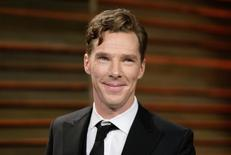 Actor Benedict Cumberbatch smiles as he arrives at the 2014 Vanity Fair Oscars Party in West Hollywood, California March 3, 2014.  REUTERS/Danny Moloshok