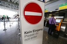 A sign is pictured during a strike at the Frankfurt airport, in Frankfurt September 5, 2014.  REUTERS/Ralph Orlowski