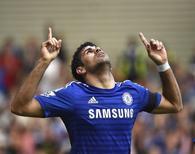 Atacante do Chelsea Diego Costa comemora gol marcado contra Swansea no Stamford Bridge. 13/09/2014 REUTERS/Toby Melville