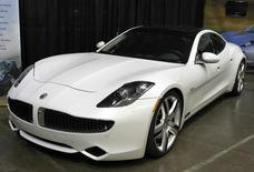 A Fisker Karma luxury plug-in hybrid car is seen at the sixth annual Alternative Transportation Expo and Conference (AltCar) in Santa Monica, California in this September 29, 2011 file photo.   REUTERS/Lucy Nicholson/Files