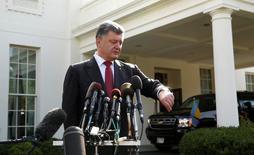 Presidente da Ucrânia, Petro Poroshenko, durante entrevista após encontro com presidente dos EUA, Barack Obama, na Casa Branca. 18/09/2014    REUTERS/Kevin Lamarque