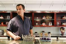 Jeweller George Wittels displays crowns designed by him and used in several Venezuelan beauty pageants at his store in Caracas September 13, 2014.  REUTERS/Carlos Garcia Rawlins