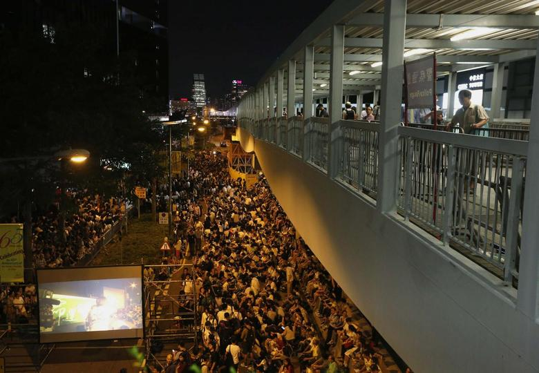 More than a thousand protesters take part in a rally outside the Legislative Council in Hong Kong September 26, 2014. REUTERS/Bobby Yip