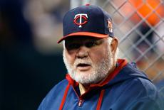 Sep 25, 2014; Detroit, MI, USA; Minnesota Twins manager Ron Gardenhire (35) in the dugout during the fourth inning against the Detroit Tigers at Comerica Park. Mandatory Credit: Rick Osentoski-USA TODAY Sports