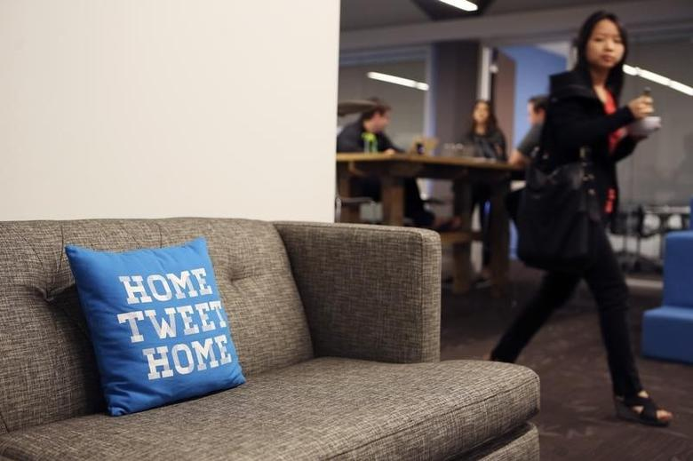 A pillow is placed on a couch at Twitter headquarters in San Francisco, California October 4, 2013. REUTERS/Robert Galbraith