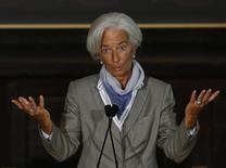 International Monetary Fund (IMF) Director Christine Lagarde delivers her speech on the global economy ahead of the fall meetings of the IMF and World Bank at Georgetown University in Washington October 2, 2014.    REUTERS/Gary Cameron