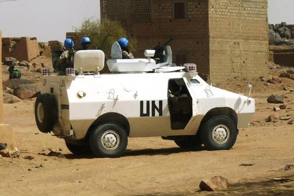 UN peacekeepers patrol in the northern town of Kidal, July 17, 2013.   REUTERS/Stringer
