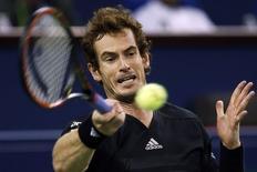 Tenista britânico Andy Murray em partida contra Teymuraz Gabashvili, da Rússia, no Masters de Xangai. 07/10/2014 REUTERS/Aly Song
