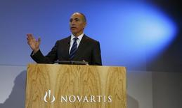 CEO Joseph Jimenez of Swiss drugmaker Novartis arrives to address the company's annual news conference in Basel January 29, 2014.  REUTERS/Arnd Wiegmann