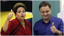 Montagem de fotos dos candidatos à Presidência Dilma Rousseff (PT) e Aécio Neves (PSDB) após votarem em suas respectivas seções eleitorais. 05/10/2014 REUTERS/Paulo Whitaker/Washington Alves