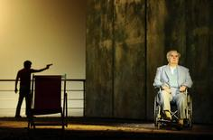 "Alan Opie, playing Leon Klinghoffer (R) and Jesse Kovarksy, playing Omar perform during a dress rehearsal of John Adam's opera ""The Death of Klinghoffer"" at the ENO in London in this file photo taken February 23, 2012.  REUTERS/Dylan Martinez/Files"