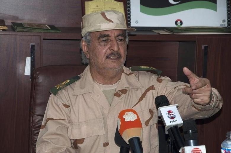 Ex-general Khalifa Haftar speaks during a news conference after surviving an assassination attempt, in Al Marj, east of Benghazi June 4, 2014.  REUTERS/Stringer