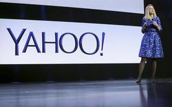 La directrice générale de Yahoo, Marissa Mayer. Le portail internet a enregistré une légère hausse de son chiffre d'affaires au troisième trimestre, surpassant les prévisions des analystes en dépit de ses difficultés persistantes dans ses activités de publicités sur écran. /Photo prise le 7 janvier 2014/REUTERS/Robert Galbraith