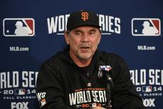 October 23, 2014; San Francisco, CA, USA; San Francisco Giants manager Bruce Bochy (15) addresses the media in a press conference during workouts the day before game three of the 2014 World Series at AT&T Park. Mandatory Credit: Kyle Terada-USA TODAY Sports