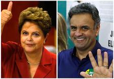 Candidatos à Presidência Dilma Rousseff (PT) e Aécio Neves (PSDB), em fotos tiradas após votarem neste domingo. REUTERS/Paulo Whitaker e Sergio Moraes