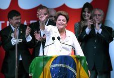 A presidente Dilma Rousseff faz pronunciamento após ser reeleita, em Brasília, neste domingo. 26/10/2014 REUTERS/Ueslei Marcelino
