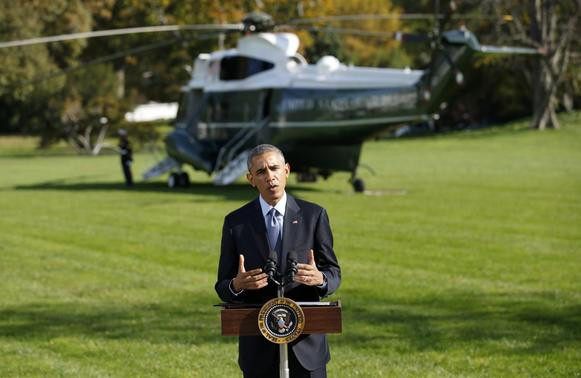 U.S. President Barack Obama speaks about the U.S. response to Ebola from the South Lawn of the White House in Washington October 28, 2014. REUTERS-Kevin Lamarque